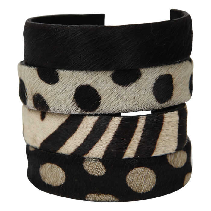 Anna Bracelets Animal Print White/Black